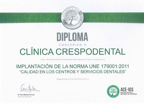 Diploma ISO UNE 179001