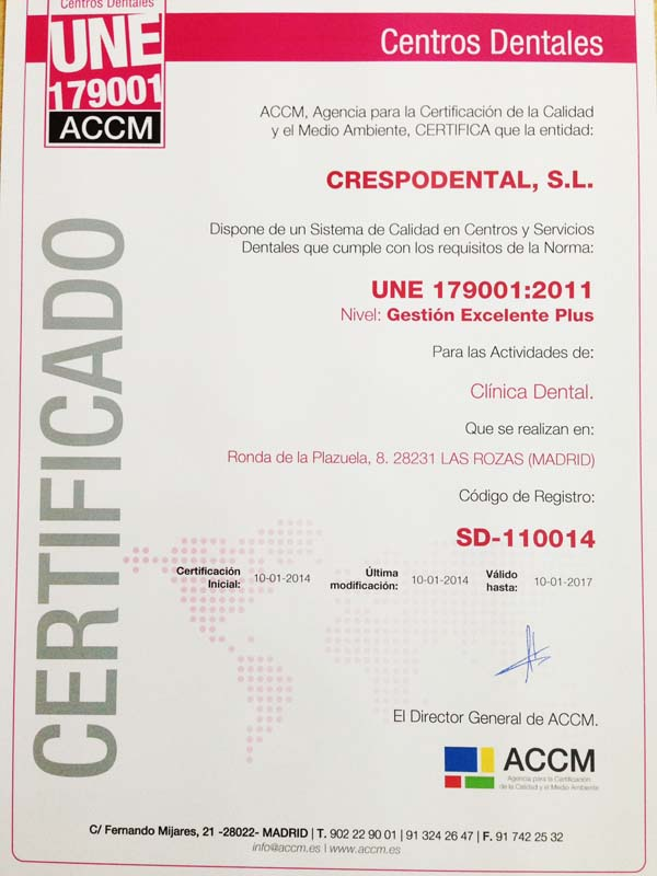 Certificado ISO UNE 179001