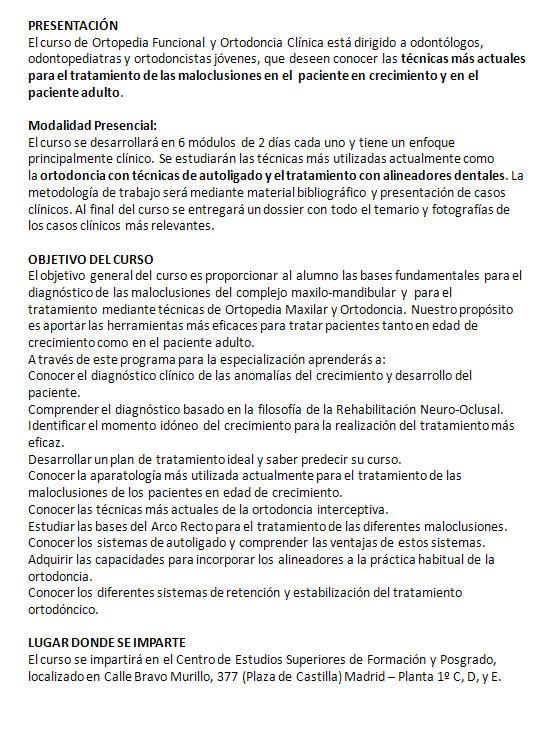 Curso Experto en Ortopedia Funcional y Ortodoncia Clínica - 2018 - Madrid