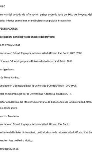 Dr Vincenzo Trentadue y colaboradores protocolo de investigacion UAX